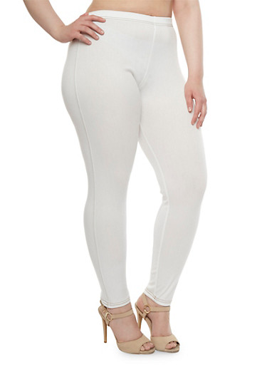 Plus Size Contrast Stitch Jeggings,WHITE,large
