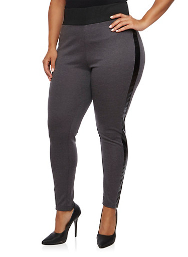 Plus Size Leggings with Faux Leather Trim,CHARCOAL,large