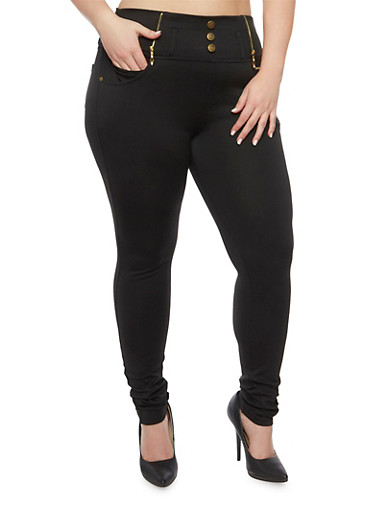 Plus Size High Waisted Zip Trim Jeggings,BLACK,large