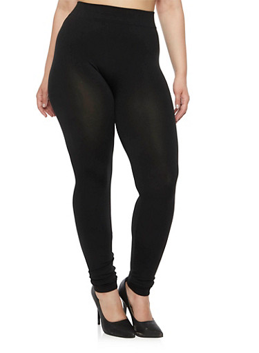 Plus Size Solid Stretch Leggings,BLACK,large
