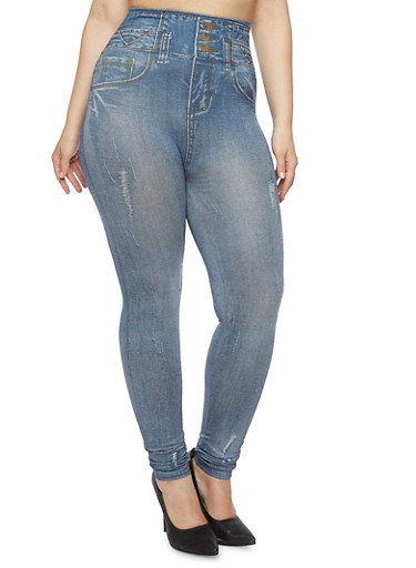 Plus Size High Waisted Jeggings with Contrast Printing,BLUE,large