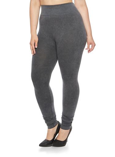 Plus Size Knit Denim Leggings,GRAY,large