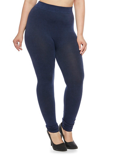 Plus Size Denim-Print Leggings,NAVY,large