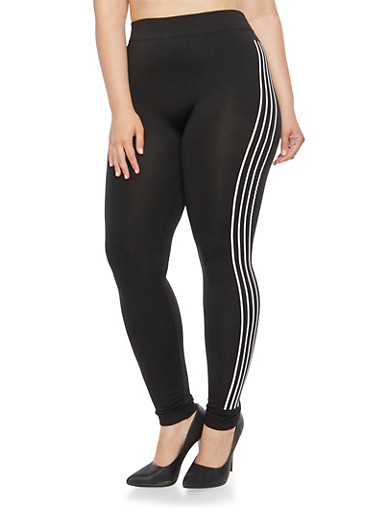 Plus Size Fleece Lined Leggings with Side Stripes,BLACK,large