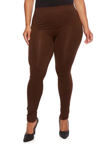 Plus Size Seamless Leggings,BROWN,large
