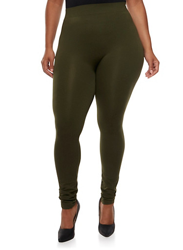 Plus Size Seamless Leggings,OLIVE NIGHT,large