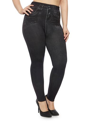 Plus Size Denim Print Leggings with Fleece Lining,BLACK,large