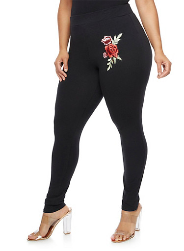 Plus Size Floral Applique Leggings at Rainbow Shops in Daytona Beach, FL | Tuggl