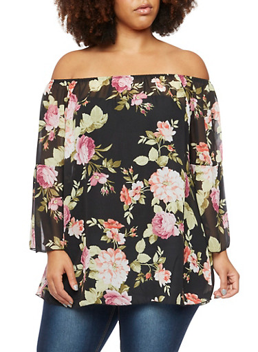Plus Size Off The Shoulder Top in Floral Print,BLACK,large