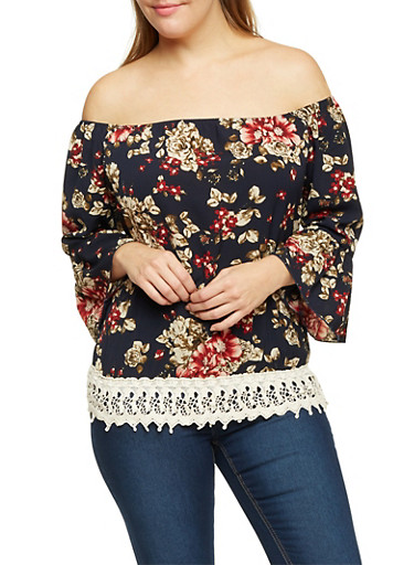 Plus Size Floral Off the Shoulder Top with Crochet Trim,NAVY,large