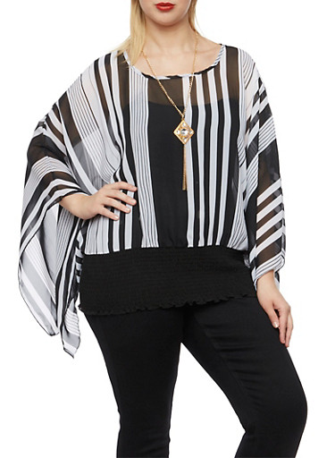 Plus Size Striped Top with Kimono Sleeves and Necklace,BLACK/WHITE,large