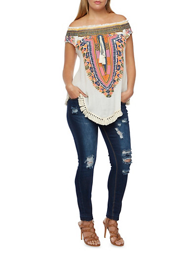 Plus Size Off the Shoulder Top with Dashiki Print,NATURAL,large