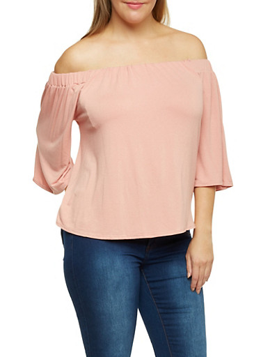 Online Exclusive - Plus Size Off the Shoulder Flared Sleeves Top,MAUVE,large