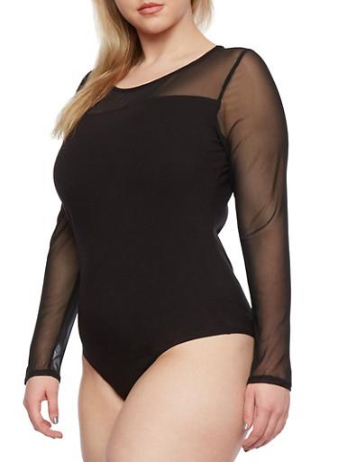 Plus Size Mesh Yoke Bodysuit,BLACK,large