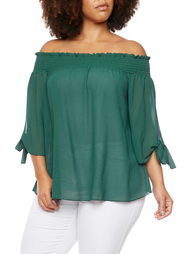 Plus Size Off The Shoulder Top with Fixed Tied Sleeves,HUNTER GREEN,large