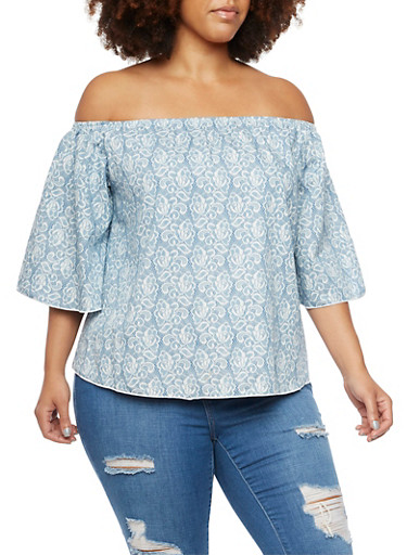Plus Size Off The Shoulder Top in Lace Print,BLUE,large