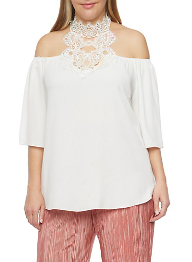 Online Exclusive - Plus Size Off the Shoulder Top with Lace Halter Neck,OFF WHITE/OFF WHITE,large