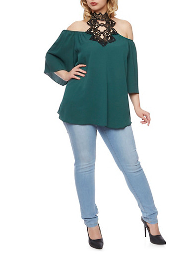 Plus Size Off the Shoulder Top with Lace Halter Neck,GREEN/BLACK,large