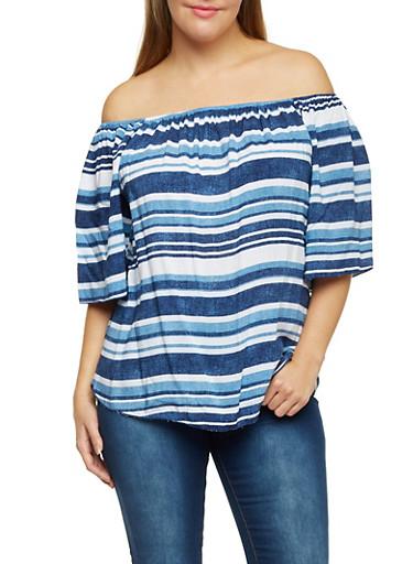 Plus Size Off The Shoulder Top in Varied Stripes,BLUE,large