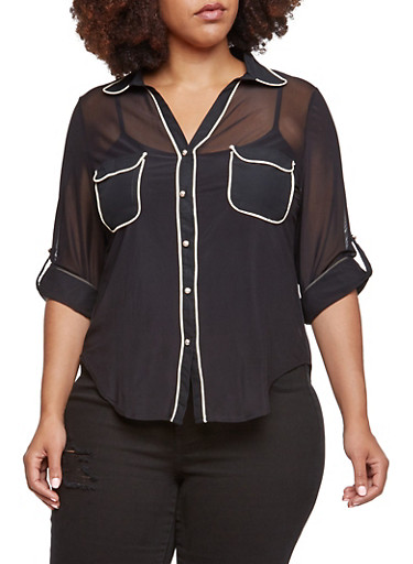 Plus Size Button Up Top in Mesh,BLACK,large