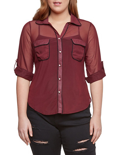 Online Exclusive - Plus Size Button Up Top in Mesh,BURGUNDY,large