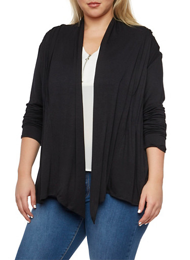 Plus Size Cardigan with Pleated Front,BLACK,large