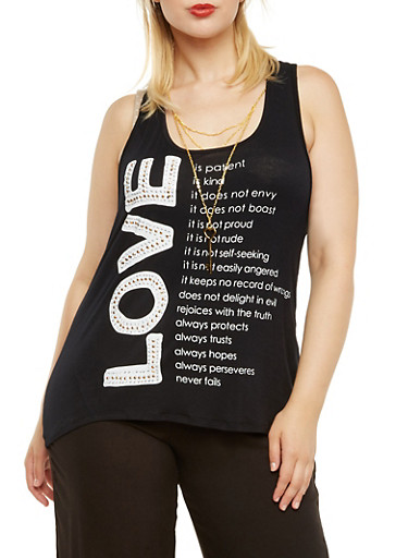 Plus Size Tank Top with Love Graphic and Removable Necklace,BLACK,large