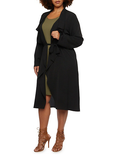 Plus Size Long Sleeve Belted Duster,BLACK,large