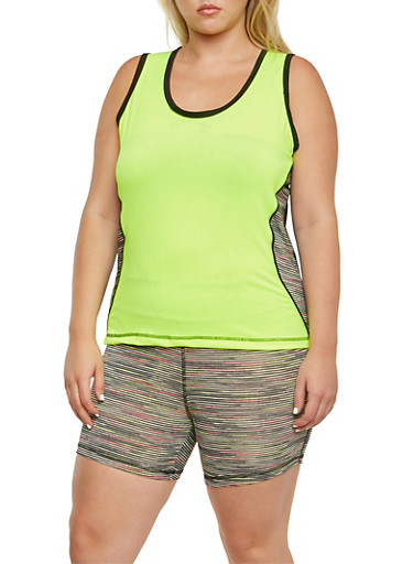 Plus Size Performance Tank Top and Shorts Set,LIME,large