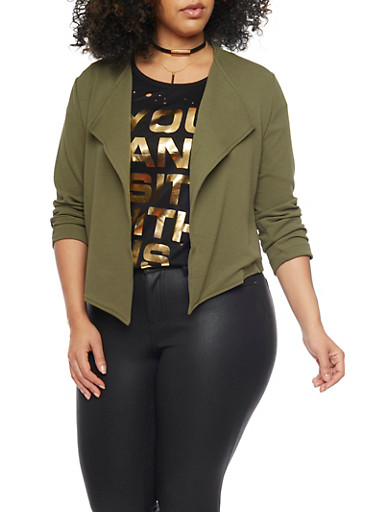 Online Exclusive - Plus Size Cropped Open Front Blazer with Zip Back,OLIVE,large