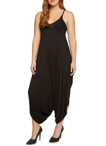 Plus Size Harem Jumpsuit,BLACK,large