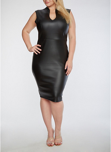 Plus Size Faux Leather Dress,BLACK,large