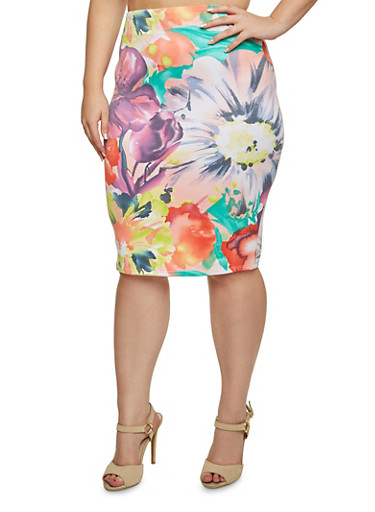 Plus Size Floral Knit Pencil Skirt,PINK,large
