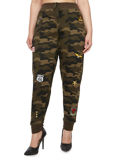 Plus Size Camo Joggers with Patches,OLIVE,large