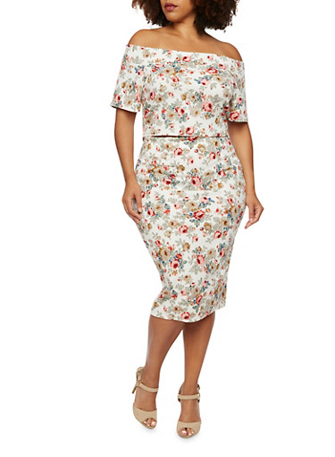 Plus Size Off The Shoulder Floral Top,IVORY/CORAL,large
