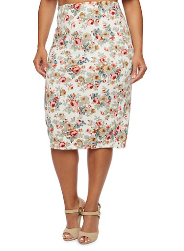 Plus Size Floral Pencil Skirt,IVORY/CORAL,large