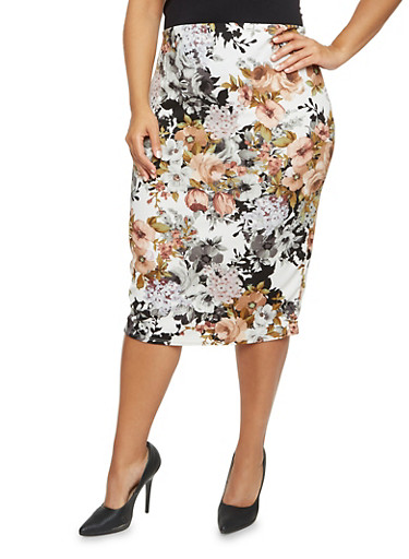 Plus Size Floral Pencil Skirt,IVORY/TAUPE,large