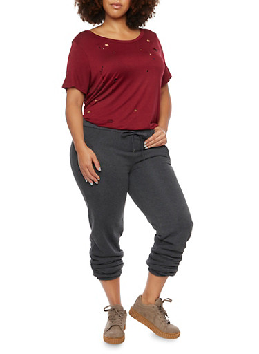 Plus Size Fleece Joggers with Pockets,CHARCOAL,large
