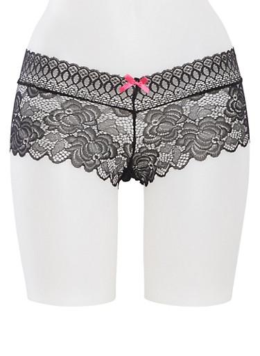 Lace Boyshort Panties,BLACK/FUCHSIA,large