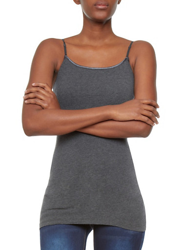 Basic Cami With Adjustable Spaghetti Straps,CHARCOAL,large