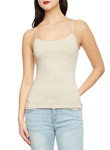 Knit Tank Top with Built In Bra,OATMEAL,large