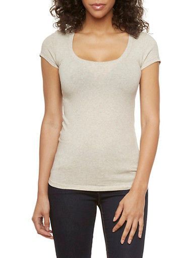 Solid Scoop Neck Tee,OATMEAL,large