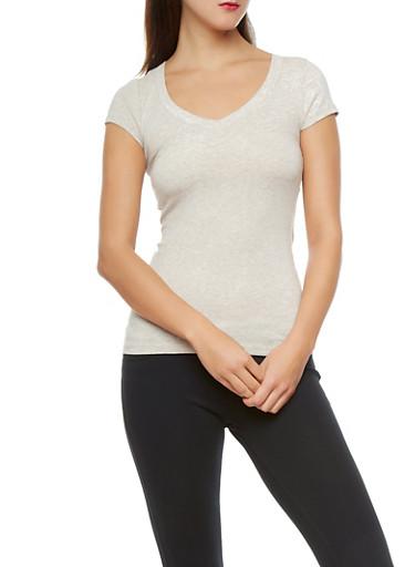 Solid Short Sleeve V-Neck Tee,OATMEAL,large