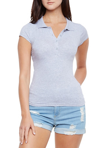 Short Sleve Polo Shirt with Side Slits,HEATHER,large