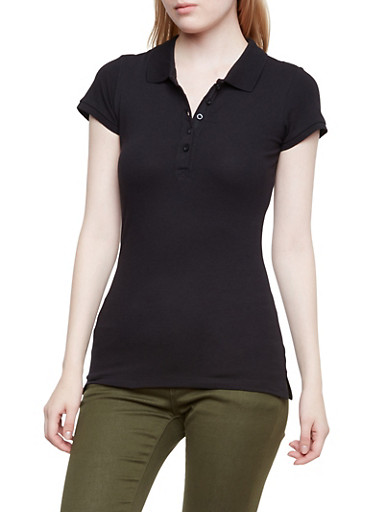 Short Sleeve Polo Shirt,BLACK,large