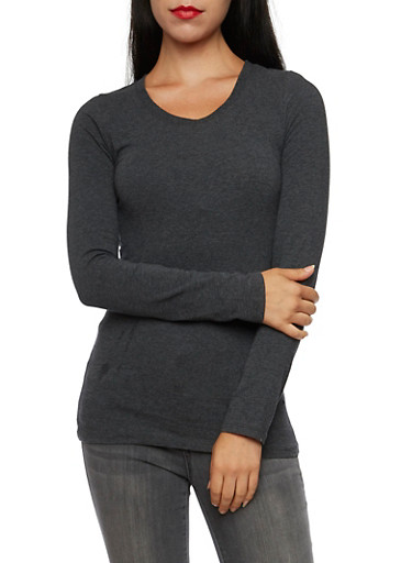 Long Sleeve Top with Scoop Neck,CHARCOAL,large