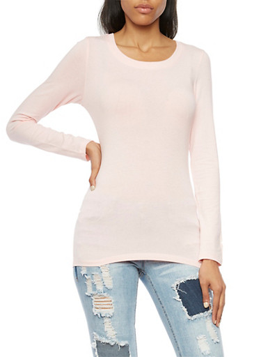 Long Sleeve Top with Scoop Neck,BLUSH,large