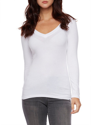 V Neck Top with Long Sleeves,WHITE,large
