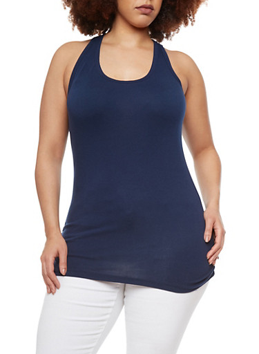 Plus Size Tank Top with Ruched Sides,NAVY (ECLIPSE),large