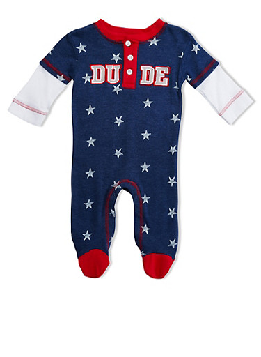 Baby Boy Printed Footie with Dude Graphic,NAVY,large
